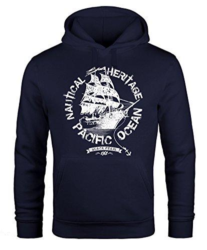 Hoodie Herren Segel Schiff Black Pearl Kapuzen-Pullover Männer Neverless® navy 3XL