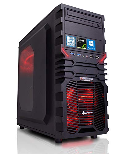 Gaming PC VG4 rot Intel, i7-7700K 4x4.2 GHz, 16GB DDR4, 1TB HDD, GTX1060 6GB, Windows 10, Spiele Computer Desktop Rechner