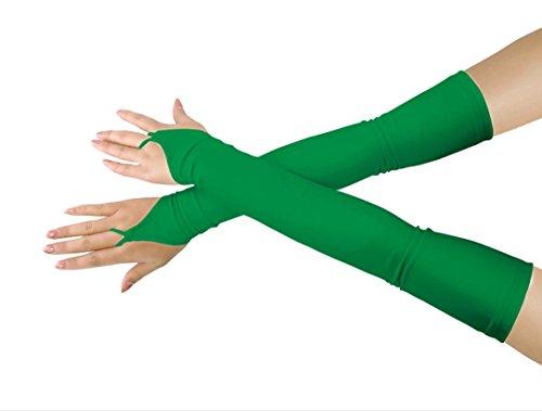 (Mädchen 'Boys' Erwachsene Halloween Make-Up Fingerlose Über Elbow Cosplay Kostüm Handschuhe (green))