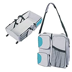 Cuddle Baby Covertible Diaper Basinett Travel Bag (Aqua/Grey)
