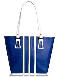 Mammon Women's Handbag (Blue White ,3Stripbw)