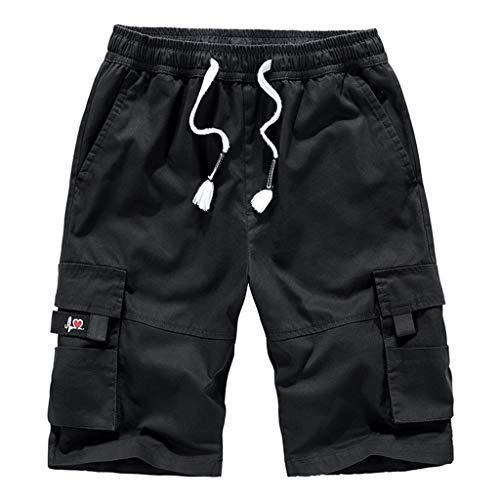 HHyyq Herren Sweat-Shorts Kurze Hose Sport-Hose Jogging-Hose Trainings-Hose Freizeit Side-Stripe Cargo-Shorts Bermuda Hose mit Taschen Arbeitskittel fur Männer(Schwarz,XXXXXXXXL) -