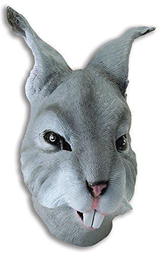 Fancy Me Erwachsene Damen Herren Rubber Das Gesicht Bedeckend Maske Animal Halloween Kostüm Kleid Outfit Zubehör - Grau Hase (Erwachsene Hase Halloween Kostüm)