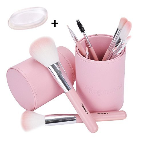 Pink Makeup Brush Set, Kapmore 10PCS Makeup Brushes Kit Professional Cosmetics Kabuki Foundation Brush Pack With Travel Gift Box For Women Girls in Party as Xmas Gift For Mom and Girls