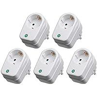 5X Steckdosenadapter mit Überspannungsschutz | 230 V | Blitzschutz Netzschutz Zwischenstecker Steckdose | 3500 W | mit Kindersicherung | 5 Stück