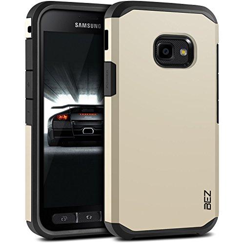 BEZ® Hülle für Xcover 4 Hülle, Handyhülle Stoßfestes Kompatibel für Samsung Galaxy Xcover 4, [Heavy Duty Serie] Outdoor Dual Layer Armor Case Handy Schutzhülle [Shockproof] Robuste - Gold
