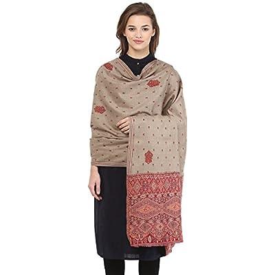 Pashtush Women's Kashmiri Embroidery Shawl, Jacquard palla, Warm and soft, Pashmina Design with Sozni Needlework