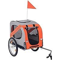 Festnight Hunde-Fahrradanhänger Hundeanhänger Fahrrad Haustier Anhänger Transportanhänger Orange und Grau