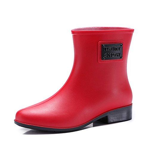Scarlet Garten (Frauen Gummi Welly Schuhe Regen Stiefel Garten Regen Schnee Outdoor PVC wasserdichte schuhe , scarlet , 36)
