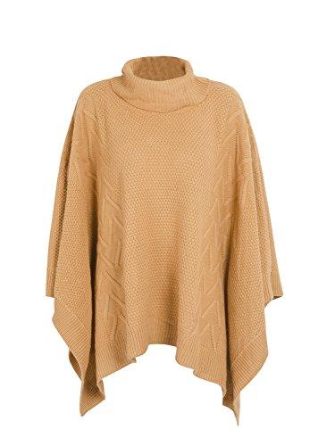 Simplee Apparel Damen Winter Herbst Elegant Unregular Saum Rollkragen Cape Ponchos Sweater Grau Camel 1