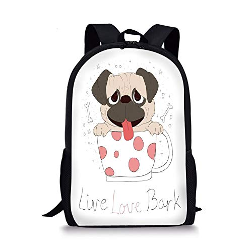 School Bags Pug,Live Love Bark Quote with a Cute Puppy in a Tea Cup Happiness Funny Image,Pink Black Pale Pink for Boys&Girls Mens Sport Daypack