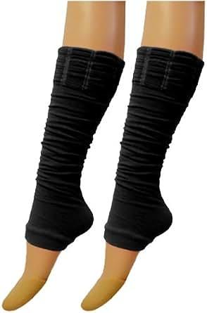 LADIES LEG WARMERS FANCY DRESS NEON TUTU CAMOUFLAGE ANIMAL LEOPARD 1 SIZE DANCE[BLACK,LEGWARMER]