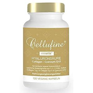 Cellufine® HyaVita® Hyaluronsäure 100 mg fermentiert mit Collagen Typ I & II + Q10 – 120 Kapseln