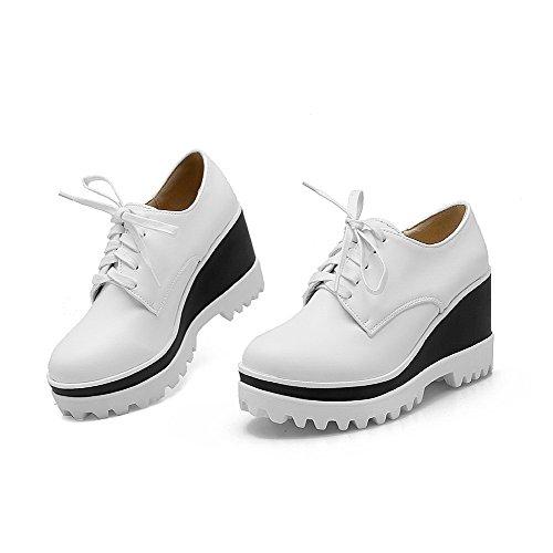 VogueZone009 Damen Rein Pu Leder Hoher Absatz Rund Zehe Schnüren Pumps Schuhe Weiß