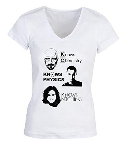 Game Of Thrones Memes Chemistry Physics Nothing Medium Damen V-neck T-shirt