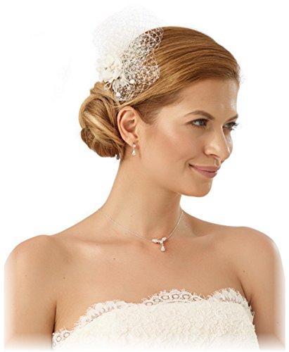 BrautChic Fascinator Haarschmuck Hochzeit - Brautschmuck Haare - Haarblüte Hochzeit mit Gittertüll - Auch als Gesichtsschleier zu tragen - Brautblüte - Haargesteck zum Brautkleid - IVORY (Elfenbein) - Kamm Tiara Der Kleine