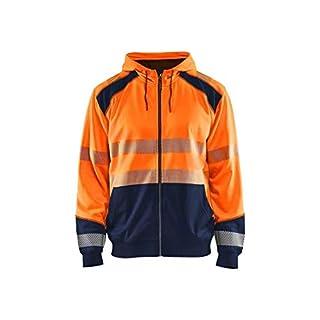 AB Blåkläder | Hivis Two col Sweatshirt, Hood and Zip, Orange/Marineblau, Größe L