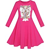 Sunboree Mädchen Kleid Eule Ice Sahne Schmetterling Pailletten Täglich Kleiden Gr. 134