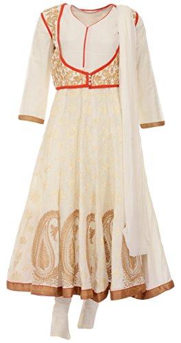 Sri Vishnavi Women's Cotton Salwar Suit Set (Off-White, L)