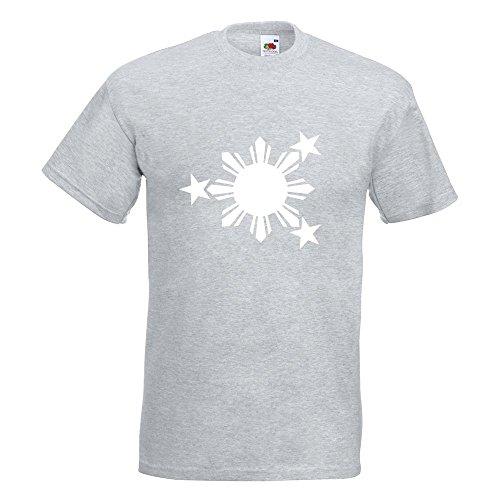 KIWISTAR - Flagge der Philippinen T-Shirt in 15 verschiedenen Farben - Herren Funshirt bedruckt Design Sprüche Spruch Motive Oberteil Baumwolle Print Größe S M L XL XXL Graumeliert