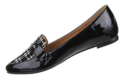 Damen Schuhe Halbschuhe Elegante Ballarinas Übergrößen 41 - 44 Nr 4 Schwarz
