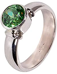 Silverwala 925-92.5 Sterling Silver American Diamond Stone Green Colour Finger Ring for Men and Boys