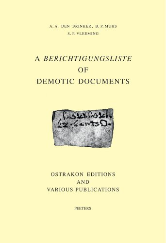 a-berichtigungsliste-of-demotic-documents-ostrakon-editions-and-various-publications