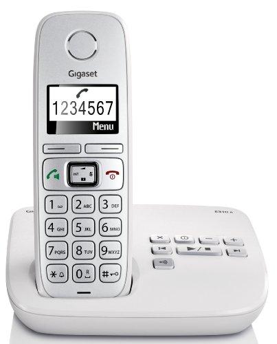 Gigaset E310A Dect-Großtasten-Schnurlostelefon mit Anrufbeantworter, hellgrau