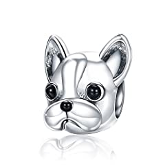 Idea Regalo - Lucky Puppy Dog Bulldog Animal Bead charm in argento 925 gioielli per donne bracciale collana