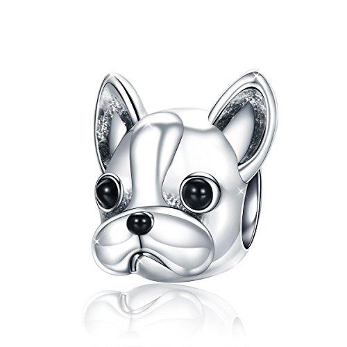 Lucky puppy dog bulldog animal bead charm in argento 925gioielli per donne bracciale collana