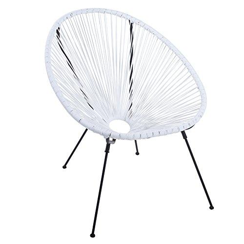 Riess Ambiente Moderner Acapulco Sessel weiß Gartenstuhl wetterfest Outdoorstuhl Relaxsessel Stuhl