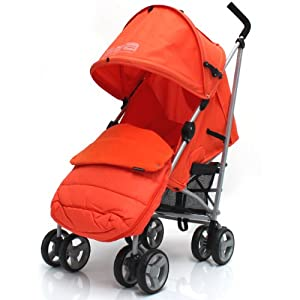 ZETA VOOOM - Orange with Rain Cover + Deluxe 2in1 footmuff liner zip off padded Orange from Baby Travel