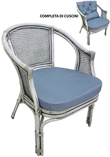 Savino filippo poltrona sedia in vimini bambù giunco vienna rattan grigio shabby lucido con cuscini per casa camera