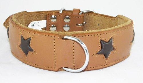 Collier pour chien en cuir marron clair avec 4 étoiles Marron à installer 40,6-48,3 cm cou