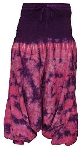 Shopoholic Fashion Hippie bunt Batik Baggy Haremshose, locker sitzend Hose - Lila Rosa Mischung, One Size Hippie-batik