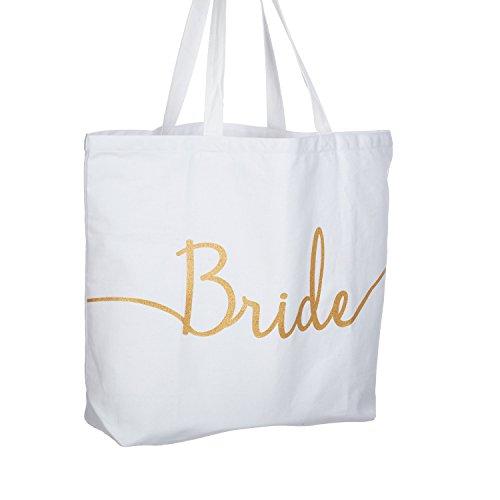 ElegantPark Bride Schultertasche für Braut Weiße Geschenke Tasche mit Gold Glitzer 100% Baumwollen