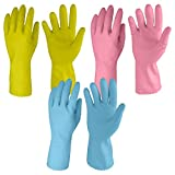 #2: Primeway Rubberex Just Gloves Flocklined Rubber Hand Gloves Combo Pack, Medium, Set of 3 Pairs, Assorted