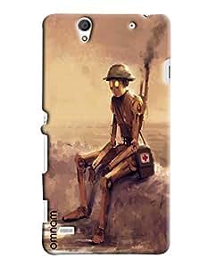 Omnam Military Man Sketlon On War Printed Designer Back Cover Case For Sony Xperia C4