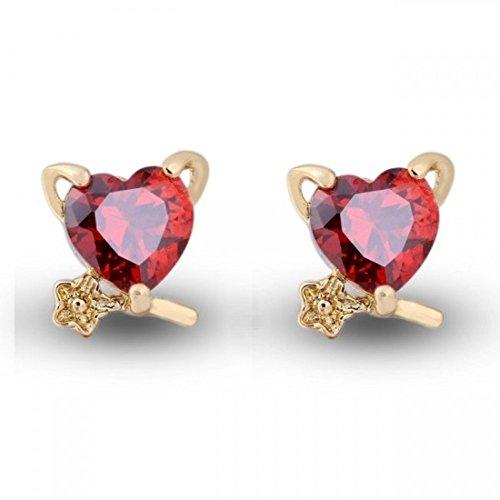 Boucles d'oreilles coeur sur une branche plaqué or zirconium Rouge