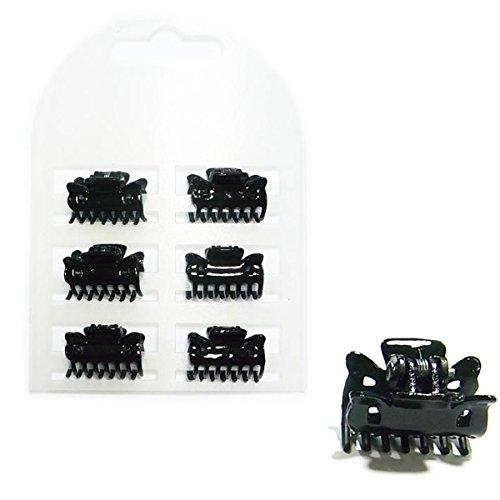Lot de 6 Mini Pinces - Plastique - Noir - Accessoire Coiffure