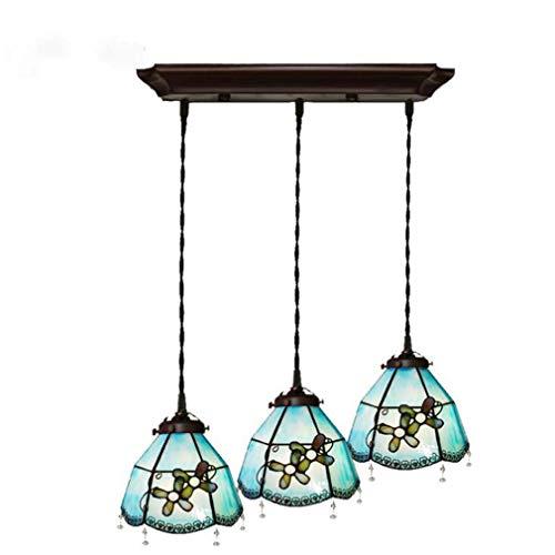 8 Zoll Tiffany Stil Pendelleuchte, 3 Köpfe Downlight Mittelmeer Glasmalerei Schatten Metall Zubehör Hängelampe für Restaurant Bar Kronleuchter, E27