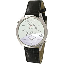 Tellus - Trium - Luxury Women / Men watch with white & white mother of pearl dial, brown strap in genuine alligator, Swiss Made - T1061L-006