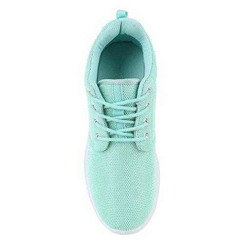 Stiefelparadies Damen Sportschuhe Muster Laufschuhe Runners Sneakers Schuhe Strass Metallic Flandell Hellgrün