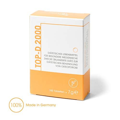 TOP-D APOTHEKENPRODUKT - Vitamin D-3 2000 IE + K für Knochen, Zähne & ein starkes Immunsystem - VEGETARISCH, 100 Tabletten im praktischen Klickspender