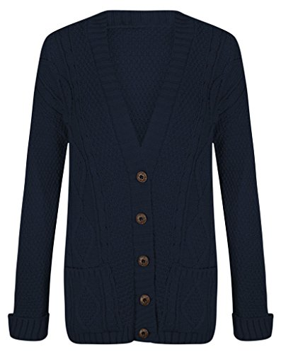 NEW Ragazza Donna Tinta Unita A Maniche Lunghe Scollo A V Button Up Chunky Aran cavo lavorato a maglia maglia nonno Everyday Top, due tasche Casual Hip Lunghezza Loose Fit Cardi Maglione Cardigan Taglia 8 10 12 14 Navy S/M (40/42)