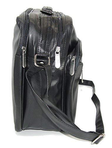 Herren Umhaengetasche Schultertasche Reise-Tasche Herren Leder Optik, schwarz (quer schwarz)