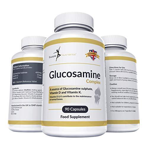Supple Nutrients Glucosamin mit Vitamin K + D - Gelenkkapseln, starkes Bindegewebe-natürlicher Gelenkschutz, fördert Knochen und Muskeln, schmerzlindernd bei geschwollenen Gelenken