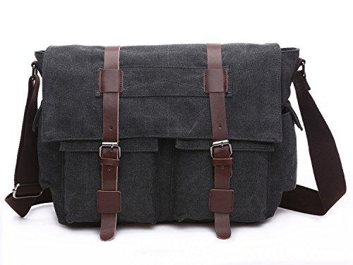 BAOSHA MS-06 Vintage Military Men's Canvas Leather Messenger Bag Casual Cross Body Travel Shoulder Bags Satchel School Laptop Bag for 15 inch Laptop (Black)
