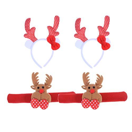 FRCOLOR 2 StückeWeihnachten Rentier Geweih Haarreif und Slap Armband Set für Kinder Erwachsene (1 stück Haarreif + 1 stück Slap Armband)