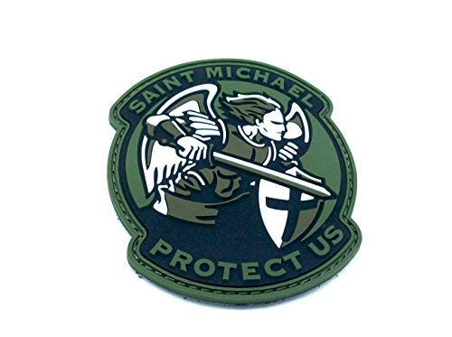 Patch Nation Saint Michael Protect Us Crusader Grun PVC Klett Emblem Abzeichen